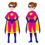 Super Hero Pink Woman Stock Photo