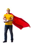 The super hero pizza delivery guy isolated on white Stock Photos