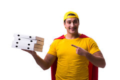 The super hero pizza delivery guy isolated on white Stock Photography