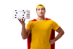 The super hero pizza delivery guy isolated on white Stock Image