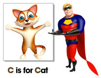 Super hero pointing Cat. 3d rendered illustration of Super hero pointing Cat Royalty Free Stock Images