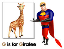 Super hero pointing Girafee Stock Photography