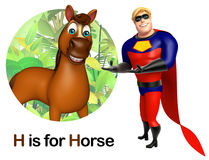Super Hero pointing Horse Stock Image