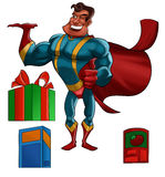 Super hero with products. A cartoon illustration of a super hero in a red cape smiling and with 1 hand raised as if carrying a product. This illustration Stock Photos