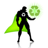 Super hero of recycling. Vectored illustration as silhouette of super hero of recycle, with green mantle, useful for save the earth commercials and web sites Stock Photography