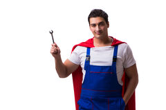 The super hero repairman isolated on the white Royalty Free Stock Images