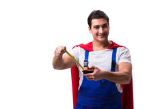 The super hero repairman isolated on the white Stock Images