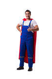 The super hero repairman isolated on the white Royalty Free Stock Photos
