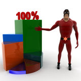 Super hero representing a increasing pie chart graph with 100 % text on it Royalty Free Stock Photography