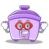 Super hero rice cooker character cartoon Royalty Free Stock Images