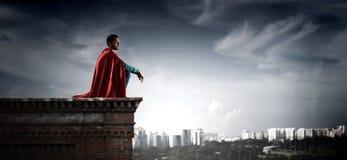 Super hero on roof. Mixed media vector illustration