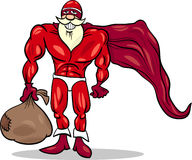 Super hero santa cartoon illustration Stock Images