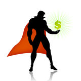 Super hero saves american economy Royalty Free Stock Images