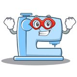 Super hero sewing machine emoticon character Stock Photos