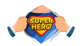 Super Hero Sign Vector. Superhero Open Shirt To Reveal Costume Underneath With Shield Badge. Isolated Flat Cartoon Comic. Super Hero Sign Vector. Superhero Open Royalty Free Stock Photo