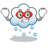 Super hero snow cloud character cartoon Stock Images
