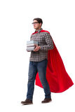 The super hero student with books isolated on white