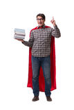 The super hero student with books isolated on white Stock Photos