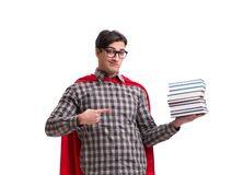 Super hero student with books  on white