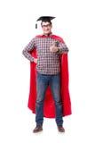 Super hero student graduating wearing mortar board cap isolated Stock Image