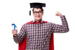 Super hero student graduating wearing mortar board cap isolated Stock Photo