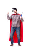 Super hero student graduating wearing mortar board cap isolated Stock Photography