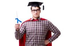 Super hero student graduating wearing mortar board cap isolated Royalty Free Stock Photos