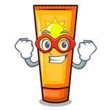 Super hero sun cream isolated in the character stock illustration