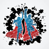 Super Hero. Superhero Man and Woman jumping designed on splatter ink background graphic vector Stock Photos