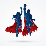 Super Hero. Superhero Man and Woman jumping designed using grunge brush graphic vector Royalty Free Stock Photography