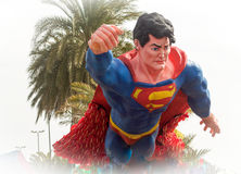 Super hero superman in a wagons parade Royalty Free Stock Image
