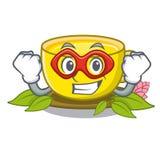 Super hero tea turmeric in the cartoon glasses stock illustration
