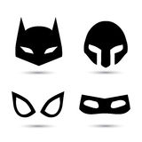 Super hero vector icons set. Super hero flat icons set. Vector illustration  on white. Black silhouette Stock Photos