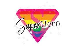 Super Hero Vector, LGBT Flag, Wording Design, Lettering, T-Shirt Design, Poster Design Super Symbol vector illustration