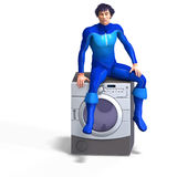 Super hero on a washing machine Royalty Free Stock Photo