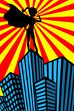 Super Hero Woman Muscles Silhouette Skyscrapers. Illustration featuring silhouette of standing super hero sexy beautiful woman showing her muscles on top of Royalty Free Stock Photo