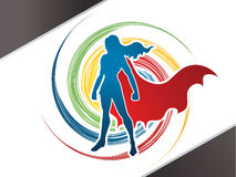 Super Hero woman standing. Graphic vector Royalty Free Illustration
