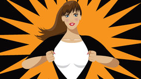 Super hero woman tears open her shirt Royalty Free Stock Photo