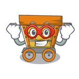 Super hero wooden trolley character cartoon. Vector illustration vector illustration