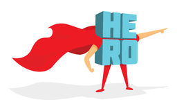 Super Hero word standing with cape Royalty Free Stock Photography