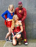Super heroes Cosplay group. Cosplay super heroes pose for group photo at MCM Comic con London. Wonder Woman, Superwoman and Flash Gordon stock images
