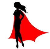 Super heroine. Silhouette of super heroine on white background Royalty Free Stock Images