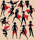 Super Heroine in Action. Super heroine silhouette in 13 different poses Stock Photos