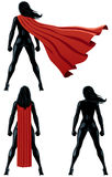 Super Heroine Back. Back of super heroine over white background and in 3 versions Stock Images