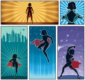 Super Heroine Banners 2. Set of 5 super heroine banners Royalty Free Stock Photo