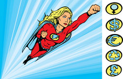 Super heroine flying into action Royalty Free Stock Image