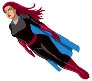 Super Heroine Flying. Super heroine over white background Stock Images