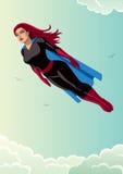 Super Heroine Flying Sky. Illustration of super heroine flying in the sky Stock Images