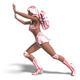 Super heroine with pink retro outfit Royalty Free Stock Images