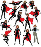 Super Heroine Set. Super heroine over white background in 13 different poses Royalty Free Stock Image